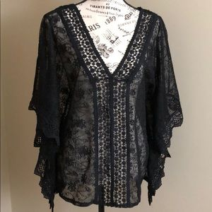 Black Lace Sheer Top